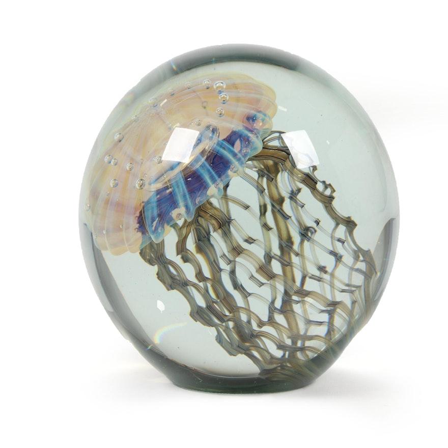 Robert Eickholt Handblown Art Glass Jellyfish Paperweight, 2008