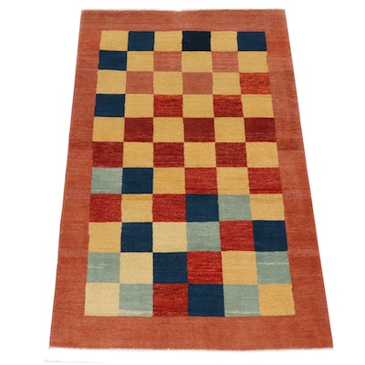 3'10 x 5'11 Hand-Knotted Afghani Gabbeh Mid Century Modern Style Rug