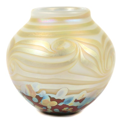 Robert Eickholt Handblown Iridescent Art Glass Vase, 2008