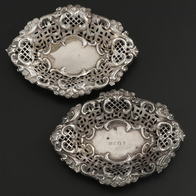 Thomas Bishton of Birmingham Pierced Sterling Silver Nut Bowls, 1905