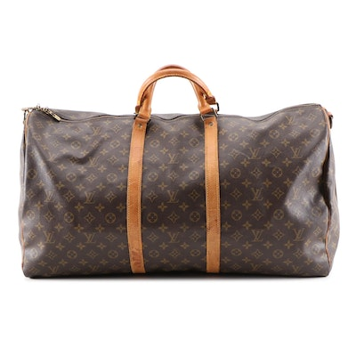 Refurbished Louis Vuitton Keepall 60 in Monogram Canvas and Vachetta Leather