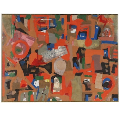 Frederick Lyman Jr. Abstract Collage Painting, 2002