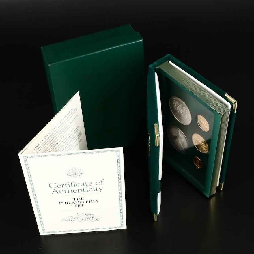 "1993 U.S. Mint American Eagle ""Philadelphia Set"", Three Gold & Two Silver Coins"