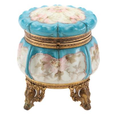 C.F. Monroe Wavecrest Gilt Ormolu Mounted Opal Ware Jewelry Box