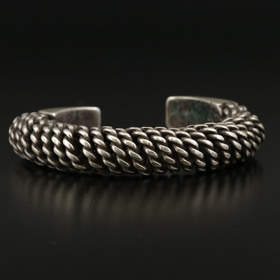 Thailand Hill Tribe Style Silver Twisted and Chased Spiral Cuff Bracelet