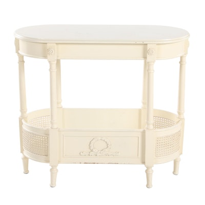 Louis XVI Style Painted and Caned Jardinaire Stand
