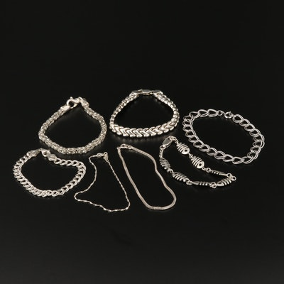 Sterling Bracelets Including Fish Bone, Byzantine, Foxtail and Curb