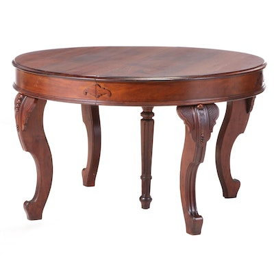 American Rococo Revival Walnut Extending Dining Table, 3rd Quarter 19th Century