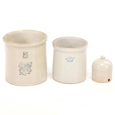 Western Stoneware and R.R.P. Crown Salt Glazed Stoneware Crocks with Jug
