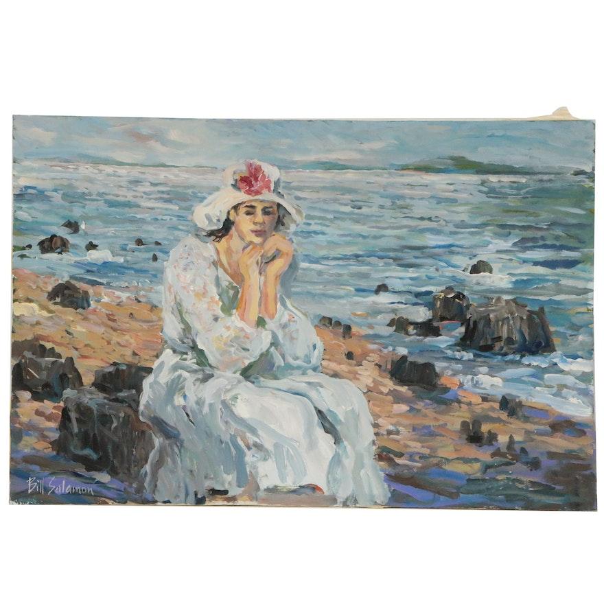 Bill Salamon Figural Oil Painting, Late 20th Century