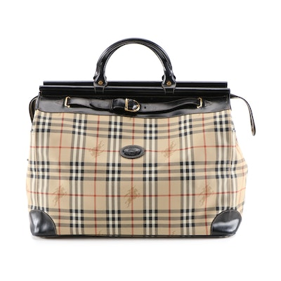 "Burberry ""Haymarket Check"" Coated Canvas and Black Leather Travel Bag"