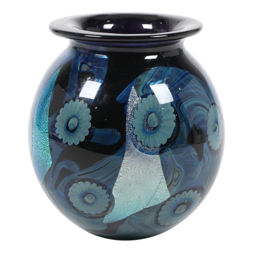 Robert Eickholt Handblown Iridescent Art Glass Vase, 2008