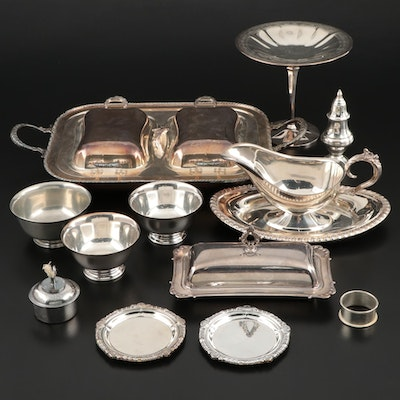 Crescent and Other Silver Plate Serveware and Table Accessories