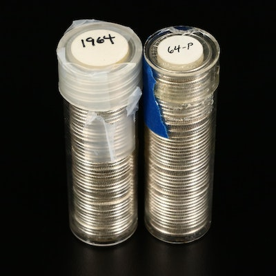Two Rolls of High Grade 1964 Roosevelt Silver Dimes