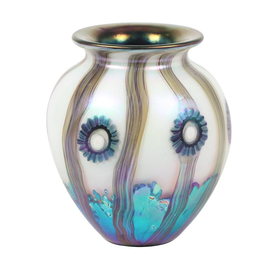 """Robert Eickholt Handblown """"Seascape"""" Iridescent Art Glass Vase, 2011"""