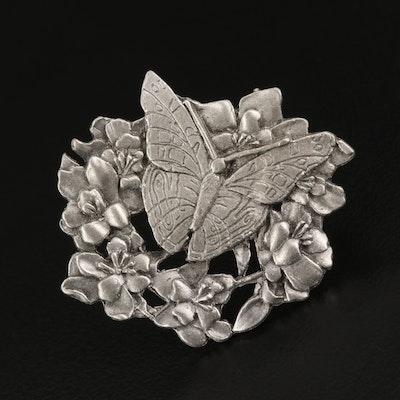 Birds & Blooms Butterfly and Flower Brooch