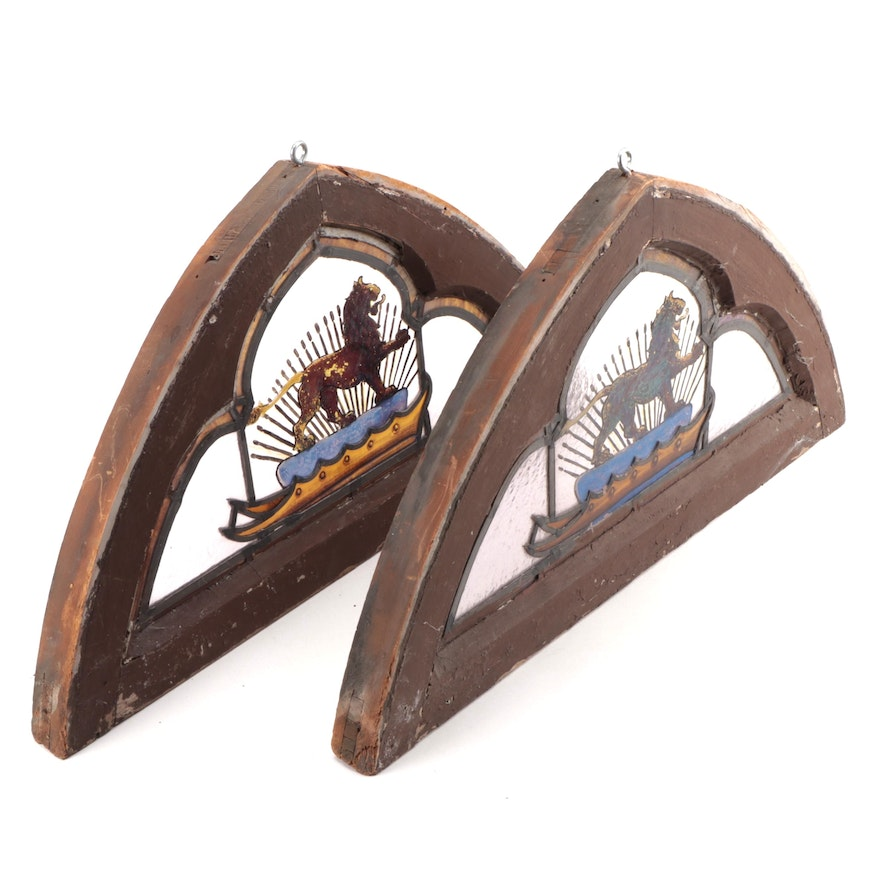 Architectural Salvage Window Panes with Reverse Painting of English Barbary Lion