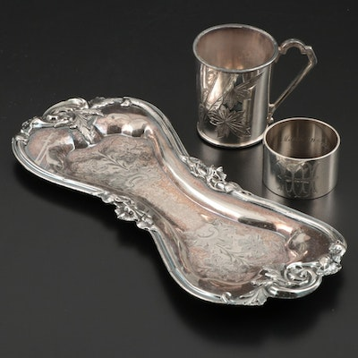 Simpson Hall & Miller Silver Plate Cup with Other Serving Dish and Napkin Ring