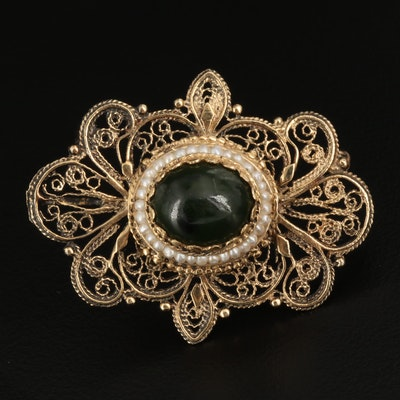 14K Gold Nephrite and Seed Pearl Wirework Converter Brooch