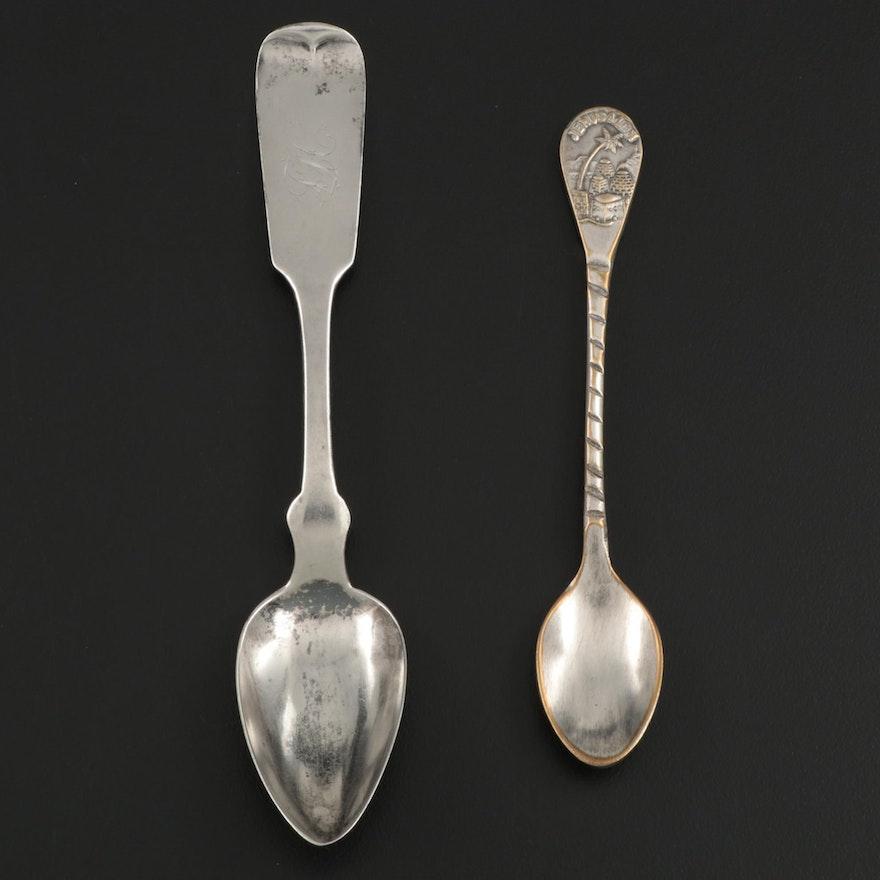 American Coin Silver Fiddle Handle Teaspoon with Jerusalem Souvenir Spoon