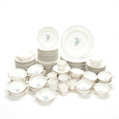 Frederik Lunning Porcelain Dinnerware with Blue Leaves Motif