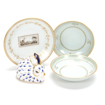 "Royal Crown Derby Bunny and Ginori ""Fiesole"" with Other Porcelain Plates"