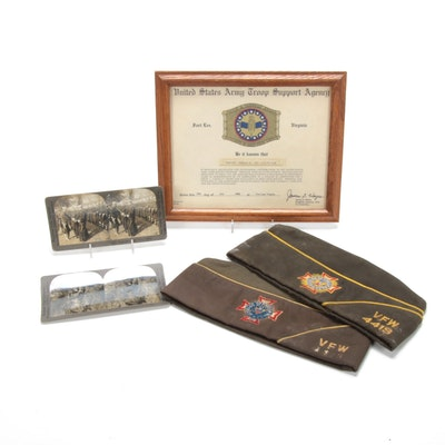 Military Framed Commendation, Stereoscope Slides, and VFW Caps, Vintage