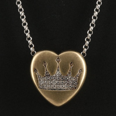 Sterling Silver Diamond Heart and Crown Necklace