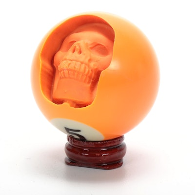 Hand-Carved Skull from British Pool Ball