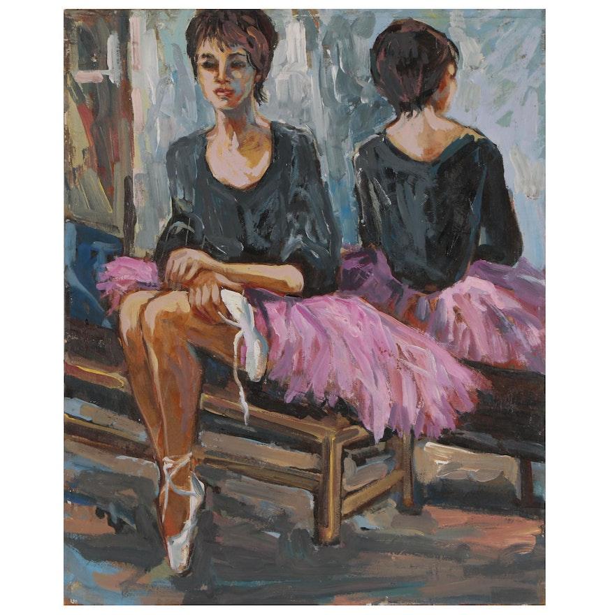 Bill Salamon Oil Painting of Ballerina, Mid-Late 20th Century