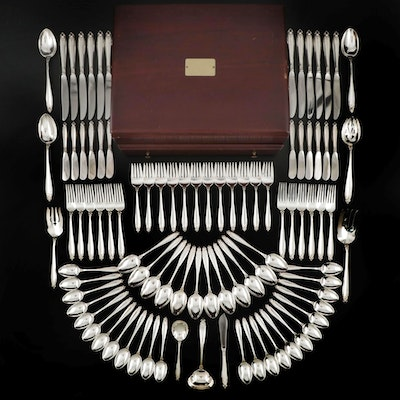 "International ""Prelude"" Sterling Silver Flatware with Chest, Mid to Late 20th C."