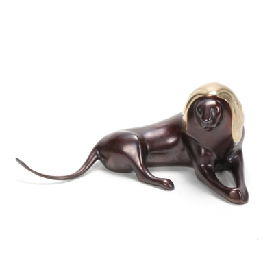 Loet Vanderveen Bronze Lion Sculpture, Limited Edition