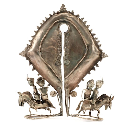 Indonesian Sumba Metal Mamuli Pendant with Four Warriors Riding Horseback