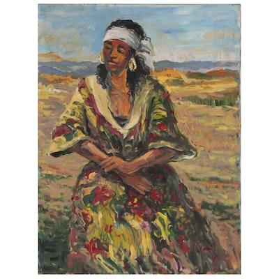 """Bill Salamon Figural Oil Painting """"Puma"""""""