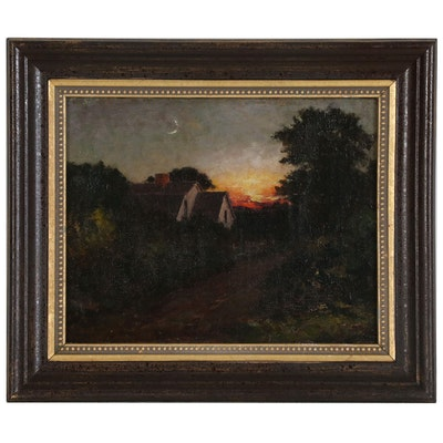 Nocturnal Landscape Oil Painting, Early 20th Century