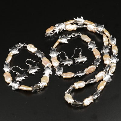 Sterling Silver and Pearl Fish Food Chain Bracelets, Necklace and Earrings