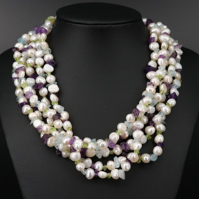 Sterling Silver Multi-Strand Pearl Necklace with Amethyst and Peridot