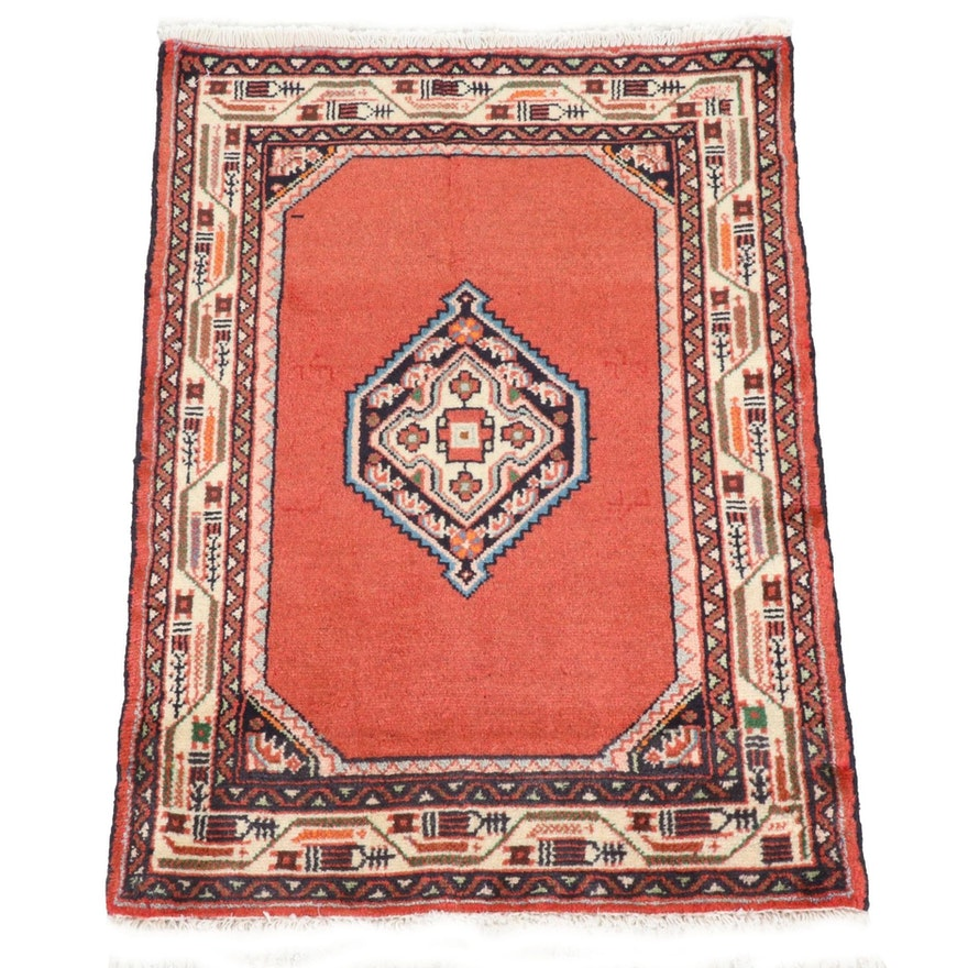 2'1 x 2'11 Hand-Knotted Persian Hamadan Rug