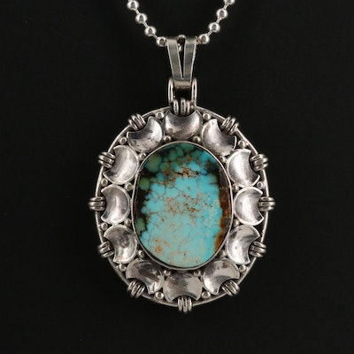 Sterling and 835 Silver Turquoise Necklace