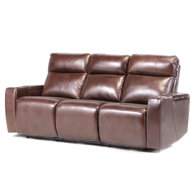 Contemporary Faux Leather Pillow Back Electric Reclining Theater Seating