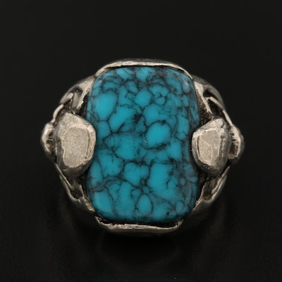 Faux Turquoise Ring with Western Motif