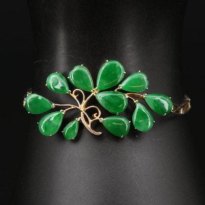 900 Silver and Jadeite Foliate Motif Open Work Bracelet