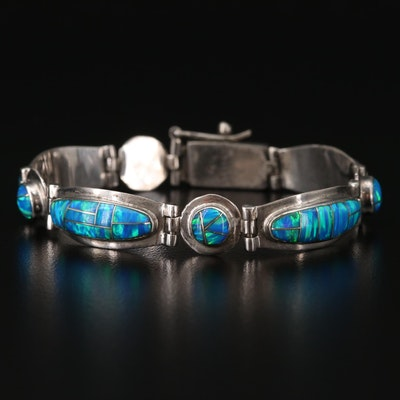 Southwestern Style Sterling Silver Opal Bracelet