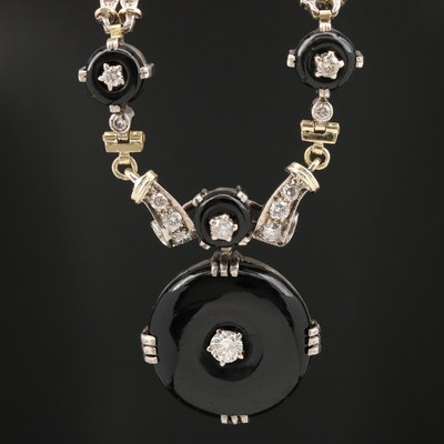 Vintage 14K Black Onyx and 3.25 CTW Diamond Necklace