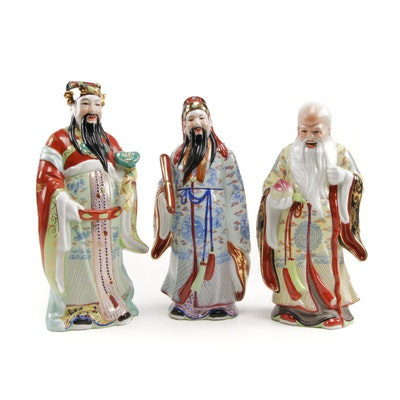 Chinese Hand-Painted Porcelain Sages Figurines, 20th Century