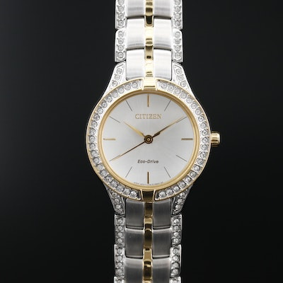 Citizen Eco-Drive Silhouette Two Tone Wristwatch with Swarovski Crystals