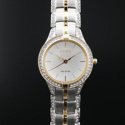 Citizen Eco-Drive Silhouette Two Tone Wristwatch with Swarovski Crystals