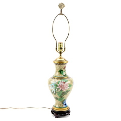East Asian Cloisonné Enamel Baluster Table Lamp