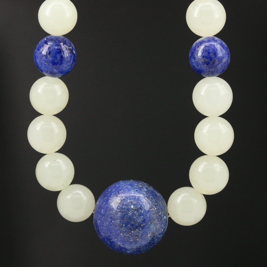 Lapis Lazuli and Bowenite Beaded Necklace with 14K Clasp