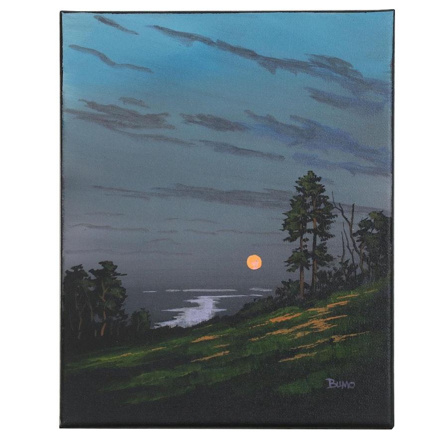 "Douglas ""Bumo"" Johnpeer Oil Painting ""Valley Moon"", 2016"